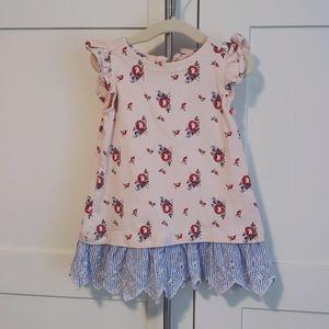 Baby Gap Rose Floral Dress Girl 6-12 mo Eyelet Hem
